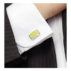 Striped Metal Mens Cuff Links Silver Yellow
